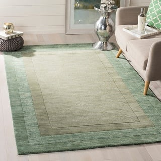Safavieh Hand-made Impressions Green/ Beige Wool Rug (7'6 x 9'6)