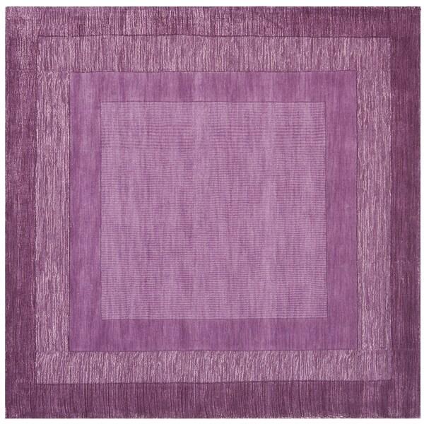 Safavieh Hand-made Impressions Fuchsia/ Purple Wool Rug (6' Square)