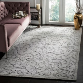 Contemporary Safavieh Hand-Made Impressions Grey Wool Rug (8'3 x 11')