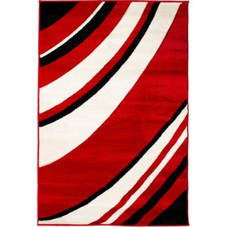 Hand-carved Waves Modern Red/ Black Area Rug (7'10 x 9'10)