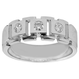 14k White Gold 1/2 Ct TDW Men's Diamond Three Stone Bezel Set Band