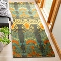 Safavieh Hand-made Ikat Olive/ Gold Wool Rug (2'3 x 10')
