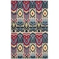 Safavieh Hand-made Ikat Beige/ Blue Wool Rug (9' x 12')