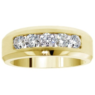 14k Gold 1.10 Ct TDW Men's Diamond Five Stone Channel Set Wedding Band