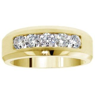 14k Gold 1.10 Ct TDW Men's Diamond Five Stone Channel Set Wedding Band