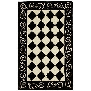 Safavieh Hand-made Chelsea Black/ Ivory Wool Rug (2'6 x 5')