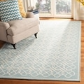 Safavieh Hand-made Chelsea Blue/ Ivory Wool Rug (3'9 x 5'9)