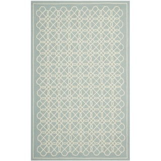 Safavieh Hand-made Chelsea Blue/ Ivory Wool Rug (7'9 x 9'9)