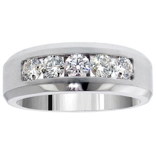 14k White Gold 1.10 Carat Men's Diamond Five Stone Channel Set Wedding Band
