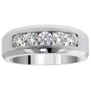 14k White Gold 1.10 Carat Men's Diamond Five Stone Channel Set Wedding Band