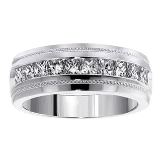 14k White Gold 1.05 CT Men's Diamond Princess Cut Ring