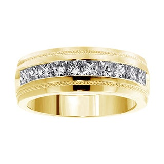14k/18k Yellow Gold 1CT Channel Setting Princess Cut Diamond Men's Ring