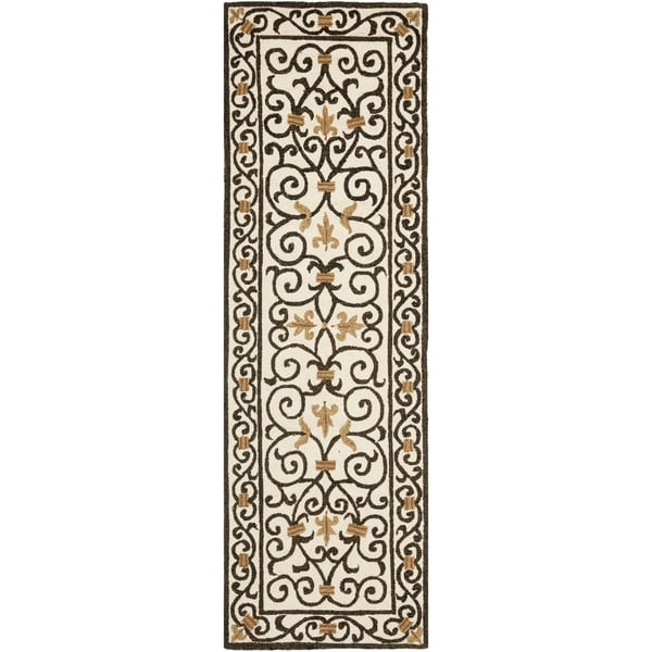Safavieh Hand-made Chelsea Ivory/ Dark Brown Wool Rug (2'6 x 12')