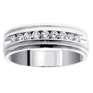 14k White Gold 1/2 CT Brilliant Cut Diamond Men's Ring