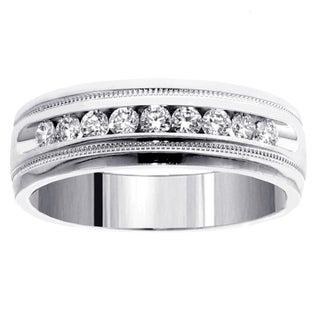 14k White Gold 1/2 CT Brilliant Cut Diamond Men's Ring