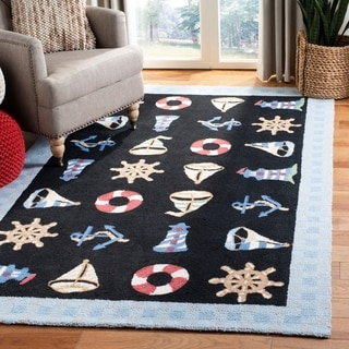 Safavieh Hand-made Chelsea Black Wool Rug (7'9 x 9'9)