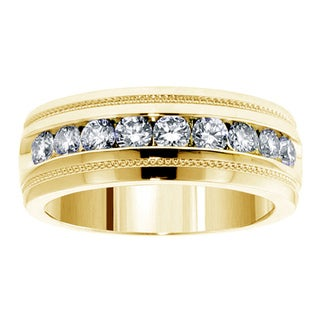 14k Yellow Gold 1 CT Brilliant Cut Diamond Men's Ring