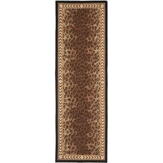 Safavieh Hand-made Chelsea Black/ Brown Wool Rug (2'6 x 14')
