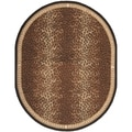 Safavieh Hand-made Chelsea Black/ Brown Wool Rug (4'6 x 6'6 Oval)