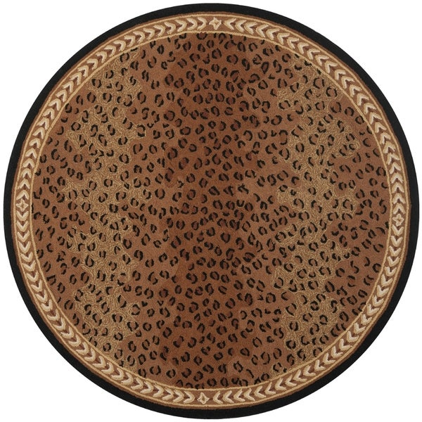 Safavieh Hand-made Chelsea Black/ Brown Wool Rug (7' Round)