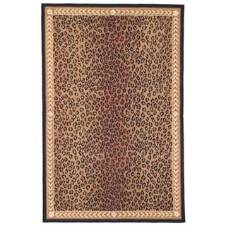 Safavieh Hand-made Chelsea Black/ Brown Wool Rug (7'9 x 9'9)