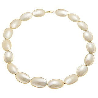 White Oval Mabe Pearl Estate Necklace (14-23 mm)