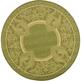 "Safavieh Indoor/Outdoor Courtyard Olive/Natural Polypropylene Rug (7'10"" Round)"