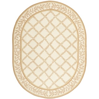 Safavieh Hand-made Chelsea Ivory/ Camel Wool Rug (4'6 x 6'6 Oval)