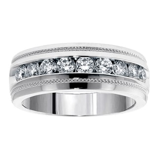 14k White Gold 1 CT Brilliant Cut Diamond Men's Ring