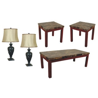 SOFAB Bennington 5-piece Lamp, Coffee Table and End Table Set