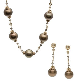 18k Gold SS Pearl and 10ct TDW Diamond Jewelry Set (G-H, VS1-VS2)