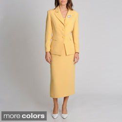 Giovanna Signature Women's Washable 2-button Mock 3-piece Skirt Suit