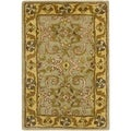 Safavieh Hand-made Heritage Green/ Gold Wool Rug (3' x 5')
