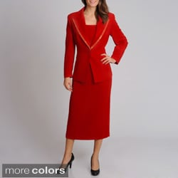 Giovanna Signature Women's Washable Mock 3-piece Polyester Skirt Suit