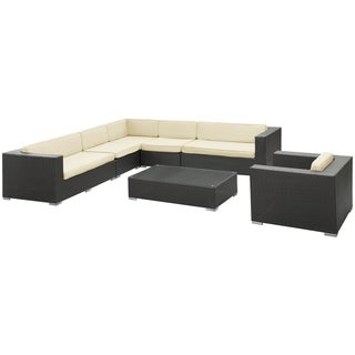 'Palm Springs' 7-Piece Espresso Outdoor Wicker Sectional Sofa Set
