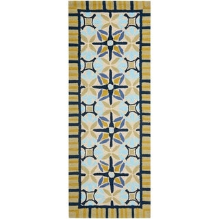 Safavieh Hand-hooked Indoor/ Outdoor Four Seasons Tan/ Blue Rug (2'3 x 6')