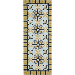 Safavieh Hand-hooked Indoor/ Outdoor Four Seasons Tan/ Blue Rug (2'3 x 8')