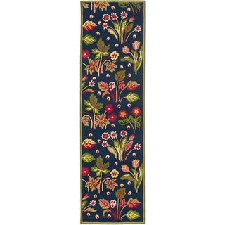 Safavieh Hand-hooked Indoor/ Outdoor Four Seasons Navy/ Green Rug (2'3 x 6')