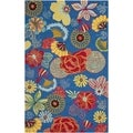 Safavieh Hand-hooked Indoor/ Outdoor Four Seasons Blue/ Red Rug (8' x 10')