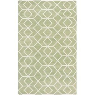 Safavieh Hand-woven Moroccan Reversible Dhurrie Sage/ Ivory Wool Rug (6' x 9')