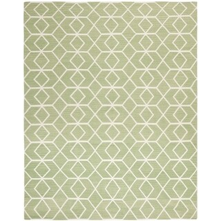 Safavieh Hand-woven Moroccan Reversible Dhurrie Sage/ Ivory Wool Rug (9' x 12')