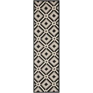 Safavieh Hand-hooked Indoor/ Outdoor Four Seasons Black/ Grey Rug (2'3 x 6')