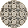 Safavieh Hand-hooked Indoor/ Outdoor Four Seasons Cement/ Blue Rug (4' Round)