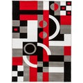 Hand-carved Contemporary Geometric Shapes Black/ Red Area Rug (7'10 x 9'10)