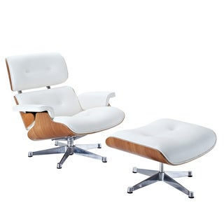 'Eaze' White Leather and Wood Lounge Chair