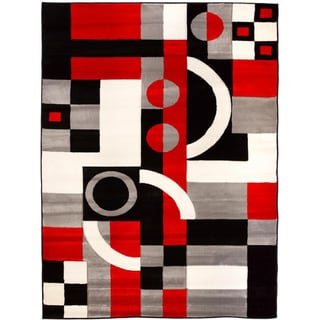 Hand-carved Contemporary Geometric Shapes and Squares Black/ Red Area Rug (3'11 x 5'3)