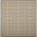 Safavieh Indoor/ Outdoor Courtyard Grey/ Cream Rug (7'10 Square)