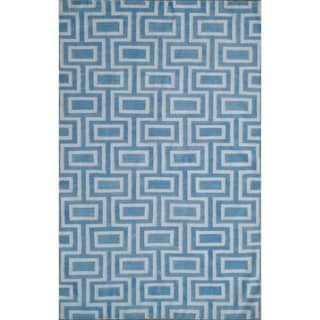Safavieh Handwoven Moroccan Dhurrie Labyrinth-pattern Light Blue/ Ivory Wool Rug (9' x 12')