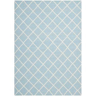 Safavieh Hand-woven Moroccan Dhurrie Light Blue/ Ivory Wool Rug (9' x 12')