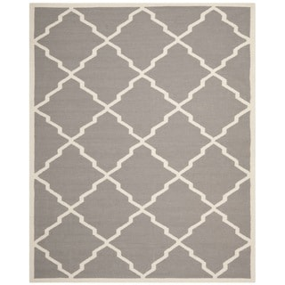 Safavieh Handwoven Moroccan Dhurrie Gray/ Ivory Wool Area Rug (9' x 12')